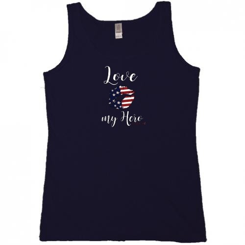 Homefront Girl® Iconic LOVE MY HERO in a tank top tee