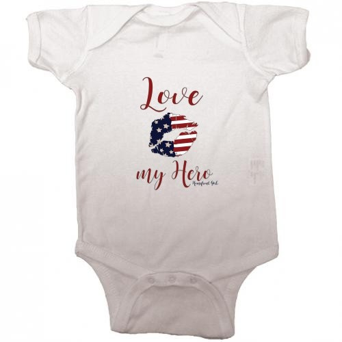 Homefront Girl® Iconic LOVE MY HERO baby onesie