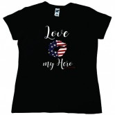 Homefront Girl® Iconic LOVE MY HERO in a Black Tee