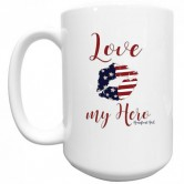 Homefront Girl® Iconic LOVE MY HERO White mug