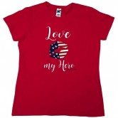 Homefront Girl® Iconic LOVE MY HERO in a Red Tee