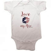 Homefront Girl® Iconic LOVE MY HERO baby onesie